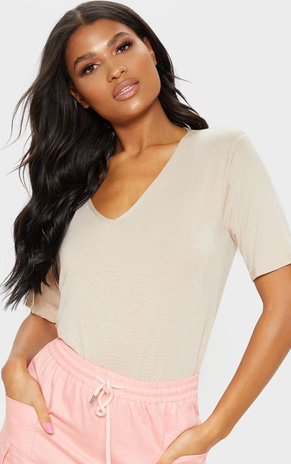 Basic Nude V Neck T Shirt - fashion.type.com