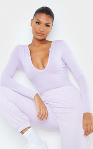 Lilac Basic Plunge Long Sleeve Bodysuit - fashion.type.com