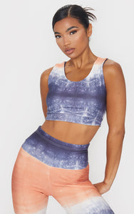 Orange Ombre Acid Wash Racer Back Gym Top - fashion.type.com