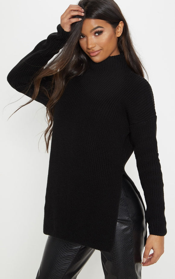 Black High Neck Oversized Jumper. Knitwear - fashion.type.com