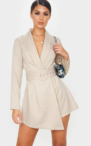 Nude Long Sleeve Tailored Belted Playsuit - fashion.type.com