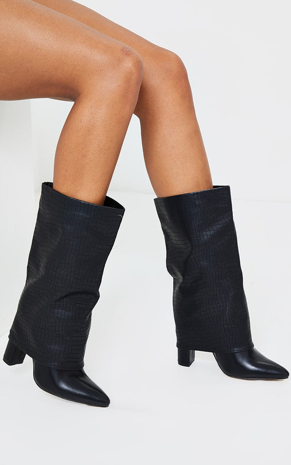 Black Fold Over High Point Block Heel Calf Boot - fashion.type.com