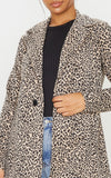 Brown Leopard Boyfriend Blazer - fashion.type.com