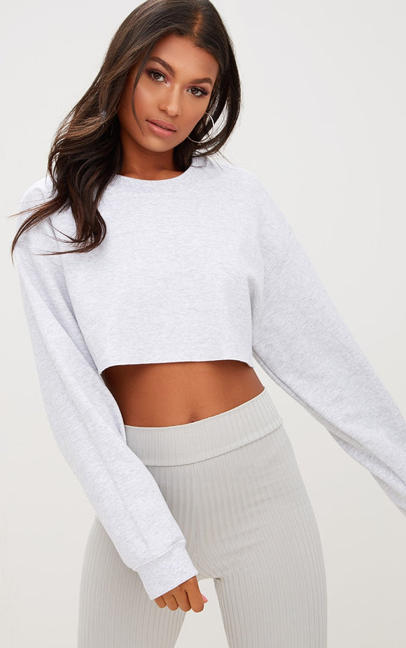 Grey Ultimate Cropped Sweater. Tops - fashion.type.com