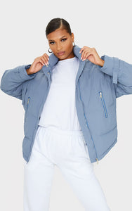Grey High Collar Belted Wrist Panel Puffer Jacket - fashion.type.com
