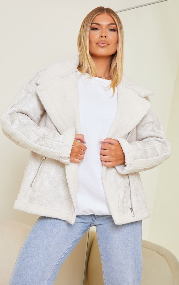 Cream Hamard Faux Suede Buckle Collar Aviator Jacket - fashion.type.com