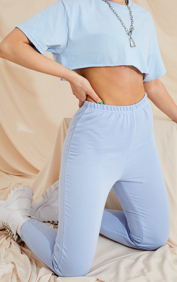 Baby Blue Basic Slim Fit Joggers - fashion.type.com