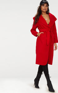Red Oversized Waterfall Belted Coat. Coats & Jackets