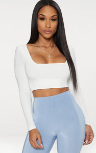 White Second Skin Square Neck Long Sleeve Crop Top - fashion.type.com