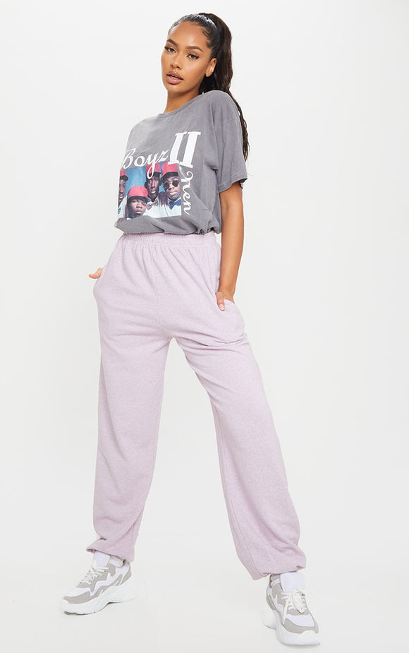 Lilac Marl Casual Joggers - fashion.type.com