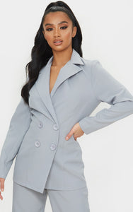 Petite Soft Grey Oversized Suit Blazer - fashion.type.com