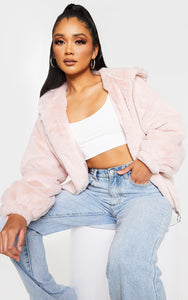 Pink Faux Fur Hooded Balloon Sleeve Hooded Jacket - fashion.type.com