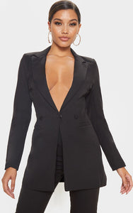 Black Double Breasted Woven Blazer - fashion.type.com