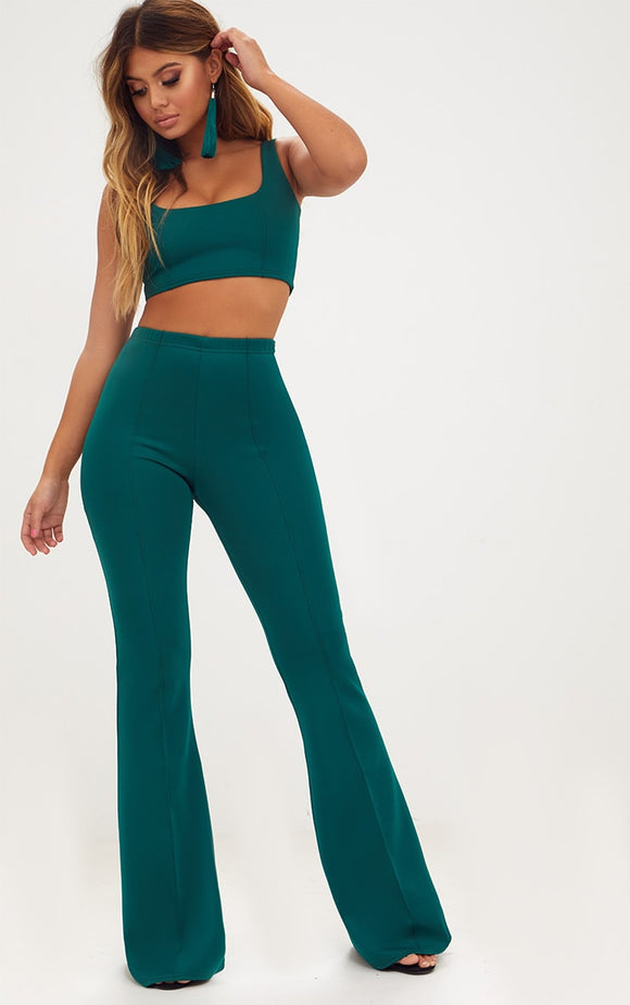 Forest Green Extreme Flare Long Leg Trousers - fashion.type.com