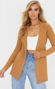 Camel Longline Blazer - fashion.type.com