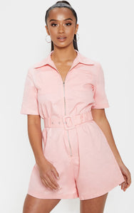 Petite Pink Belted Utility Playsuit - fashion.type.com