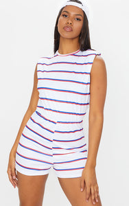 White Striped Crew Neck Pad T Shirt Playsuit - fashion.type.com