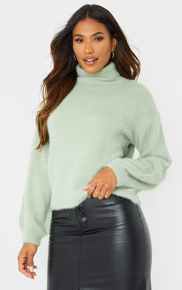Sage Green Roll Neck Balloon Sleeve Knit Jumper - fashion.type.com