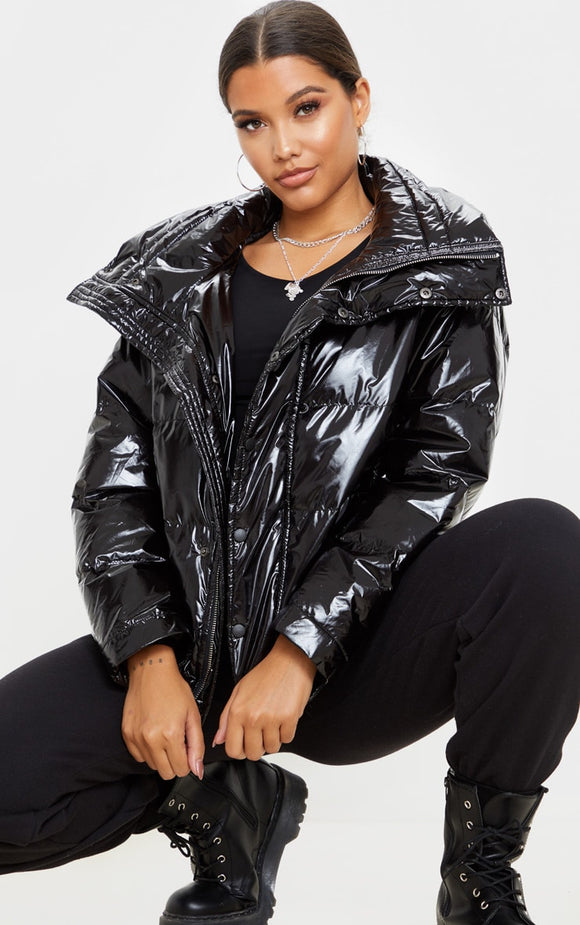 Black High Shine Oversized Hooded Puffer - fashion.type.com