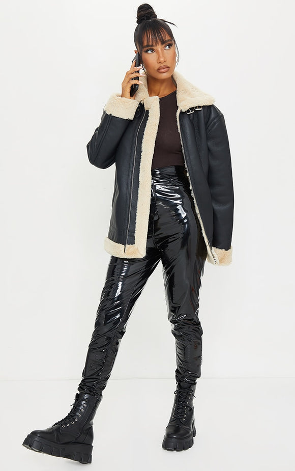 Black Faux Leather Oversized Faux Fur Lined Aviator - fashion.type.com