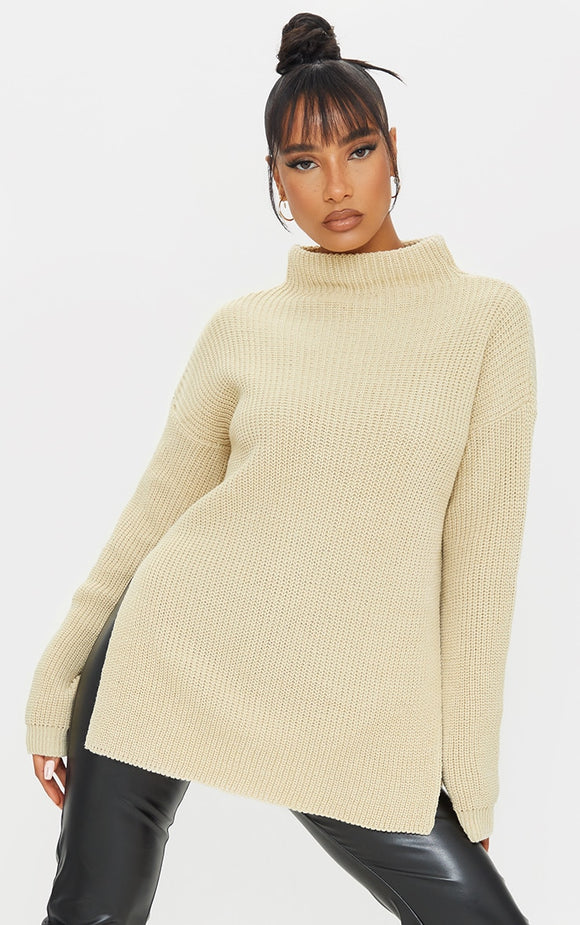 Stone High Neck Oversized Jumper. Knitwear - fashion.type.com
