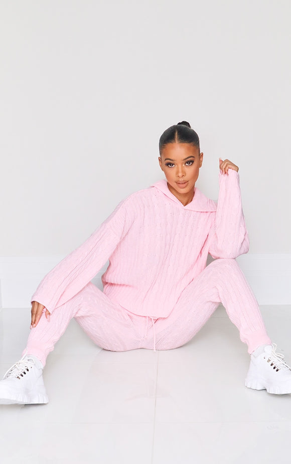 Pink Cable Knitted Hooded Lounge Set - fashion.type.com