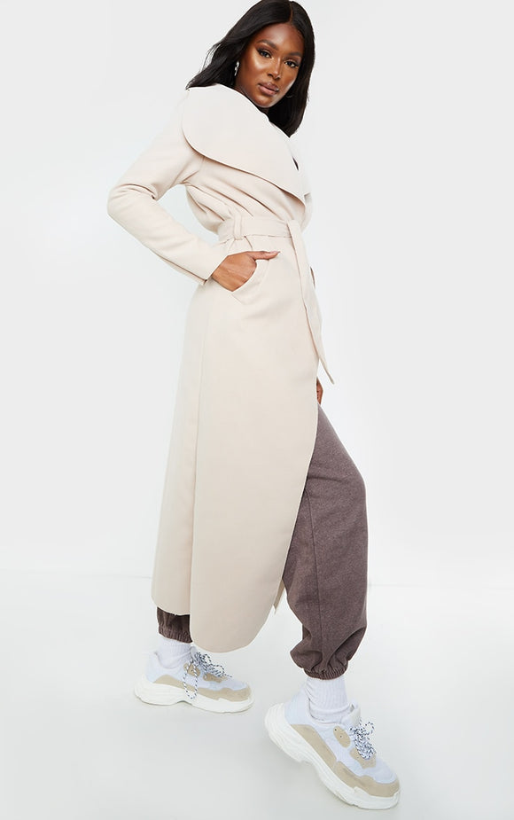 Tall Stone Maxi Length Waterfall Belted Coat - fashion.type.com