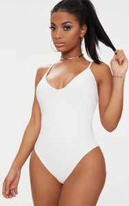 Shape White Slinky Double Layer Bodysuit - fashion.type.com