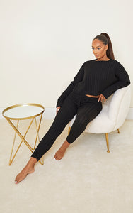 Black Cable Knit Jumper & Legging Set - fashion.type.com