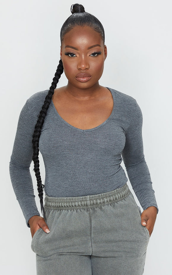Petite Charcoal V Neck Basic Bodysuit - fashion.type.com