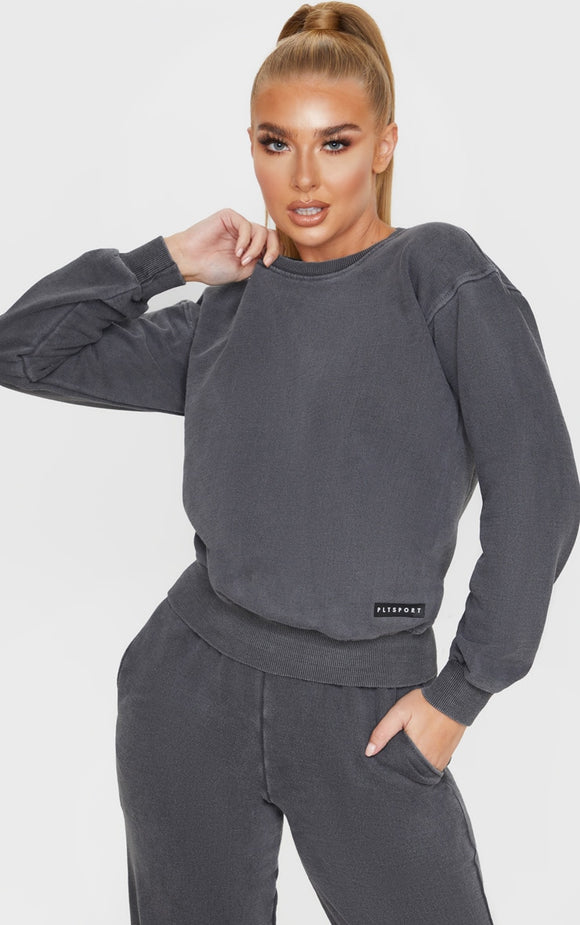 Plt Charcoal Badge Sport Sweater - fashion.type.com