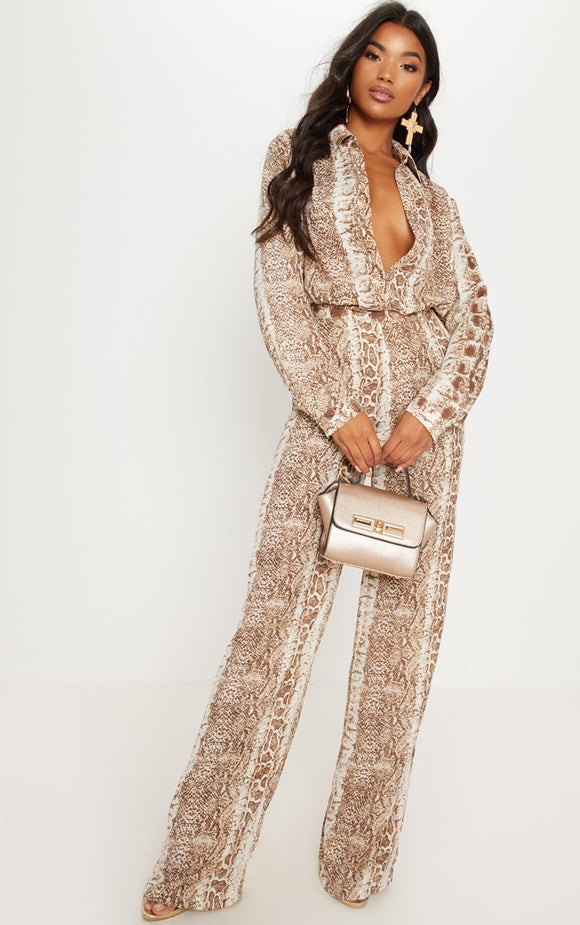 Brown Snake Print Wide Leg Trouser - fashion.type.com