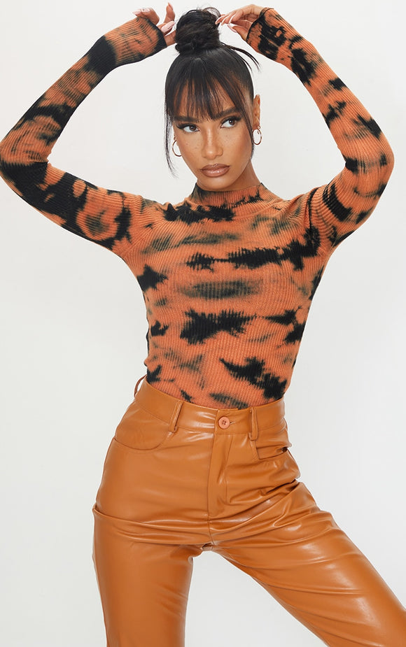 Orange Tie Dye Ribbed Knitted Funnel Neck Jumper - fashion.type.com