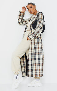 Beige Checked Woven Maxi Trench - fashion.type.com