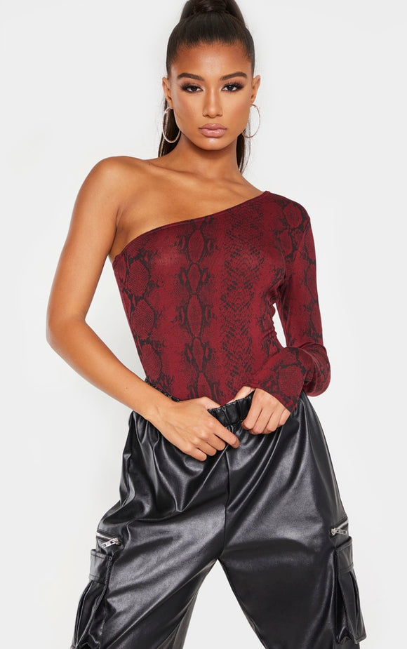 Burgundy Snake One Shoulder Long Sleeve Bodysuit - fashion.type.com