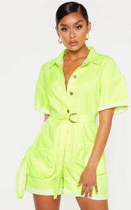 Neon Lime Playsuit With Pencil Pockets - fashion.type.com