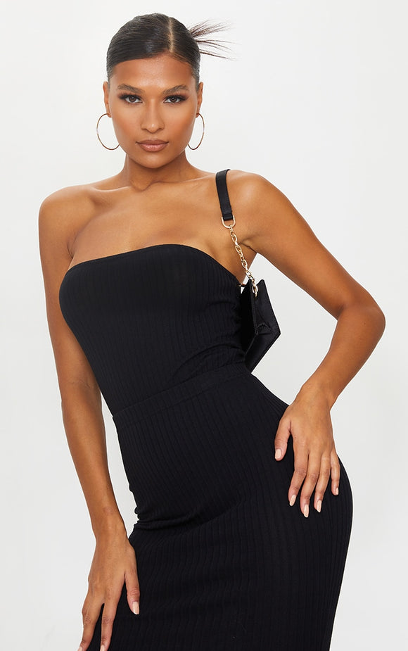 Black Soft Ribbed Bandeau Bodysuit - fashion.type.com