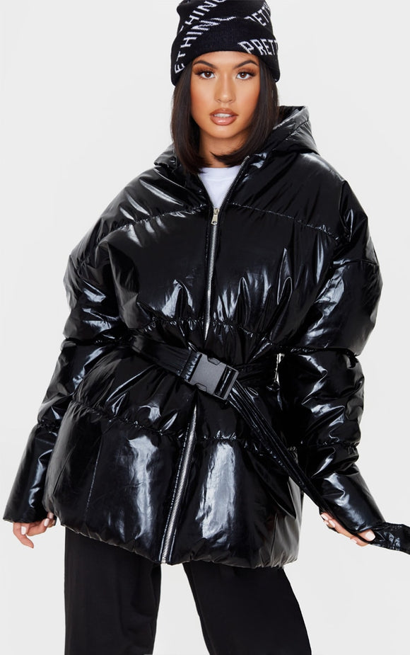 Black High Shine Hooded Midi Belted Puffer Jacket - fashion.type.com