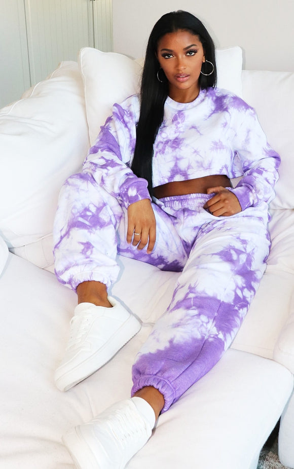 Shape Violet Tie Dye Extreme Cropped Sweater - fashion.type.com