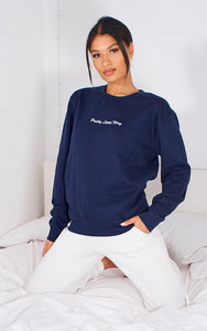 Plt Navy Embroidered Sweatshirt - fashion.type.com