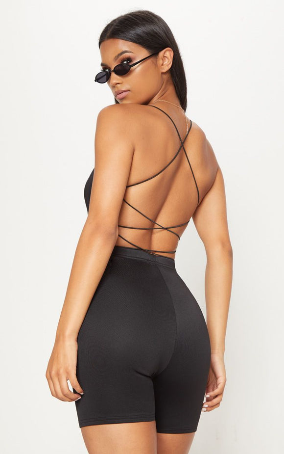 Black Slinky Spaghetti Strap Backless Bodysuit - fashion.type.com
