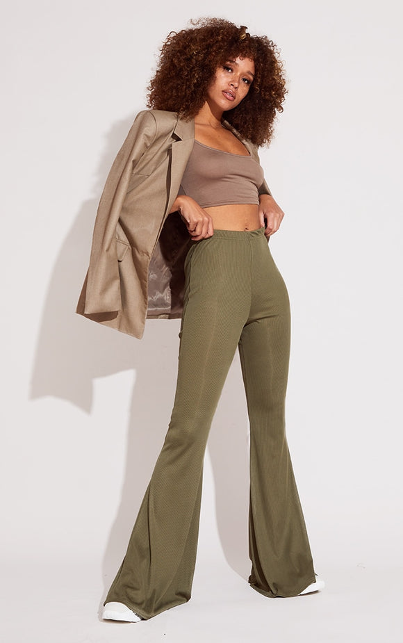 Khaki Rib Flared Trousers - fashion.type.com