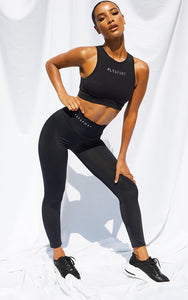 Prettylittlething Black Dipped Waist Crop Legging - fashion.type.com