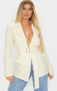 Ecru Longline Buckle Belted Blazer - fashion.type.com
