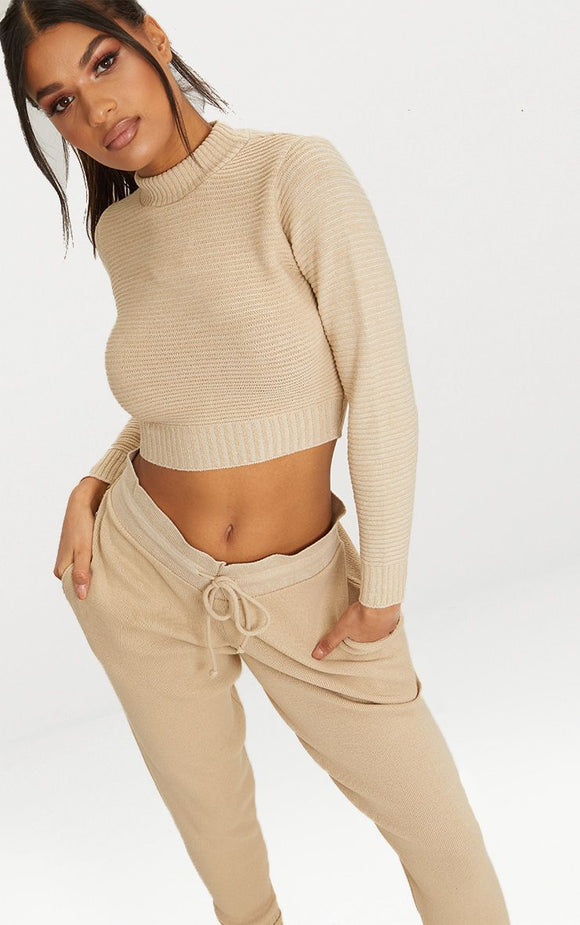 Stone Ribbed Cropped Knitted Jumper - fashion.type.com