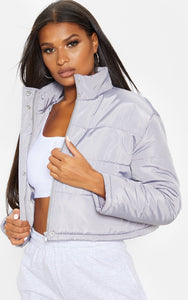 Grey Super Cropped Puffer - fashion.type.com