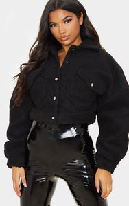 Black Borg Cropped Trucker Jacket - fashion.type.com