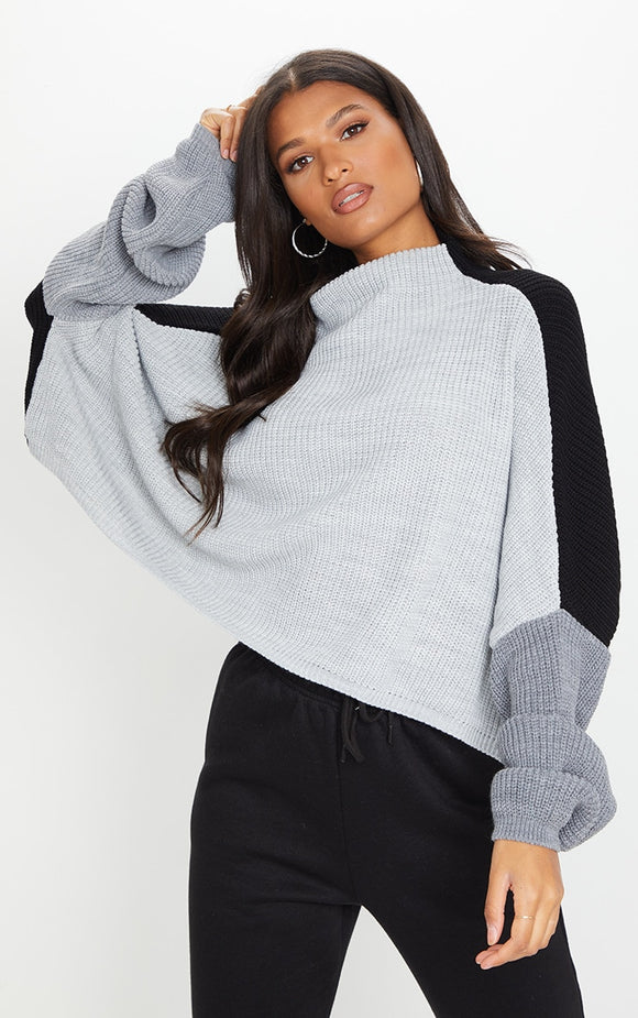 Black Oversized Colour Block Jumper - fashion.type.com