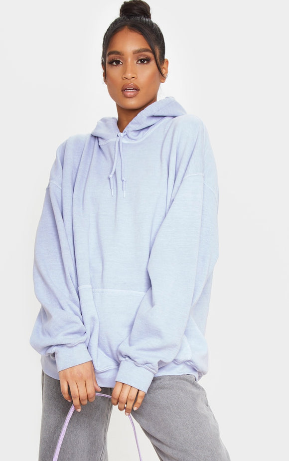 Lead Grey Washed Oversized Hoodie
