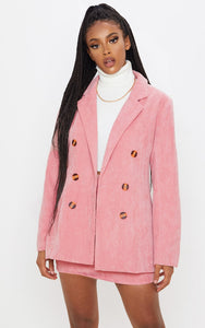Pink Cord Oversized Boyfriend Blazer - fashion.type.com